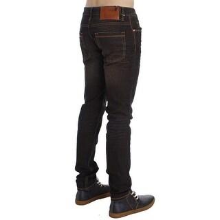 ACHT Brown Wash Cotton Stretch Slim Fit Jeans - w34