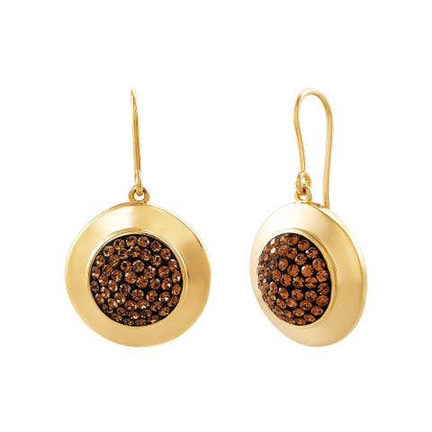 Circle Disc Earrings with Crystals in 14K Gold-Plated Bronze - Brown