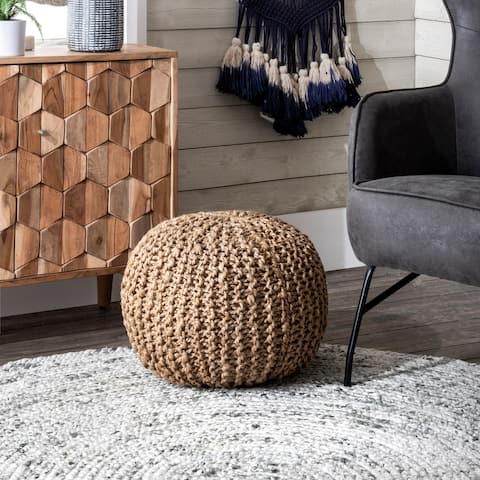 nuLOOM York Classic Knitted Solid Jute Ottoman Pouf