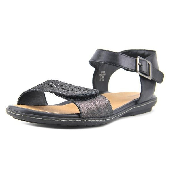 Earth Star Women Open-Toe Leather Gray Slingback Sandal