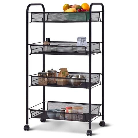 Costway 4 Tier Storage Rack Trolley Cart Home Kitchen Organizer Utility Baskets Black