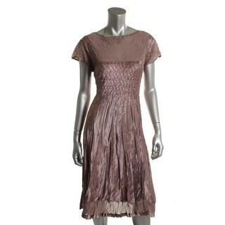 SL Fashions Womens Sheer Satin Cocktail Dress - M