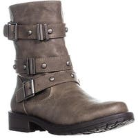 MG35 Bedford Buckle Zip Up Mid Calf Boots, Taupe - 7.5 us