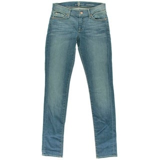 7 For All Mankind Womens Rozanne Low-Rise Whisker Wash Skinny Jeans