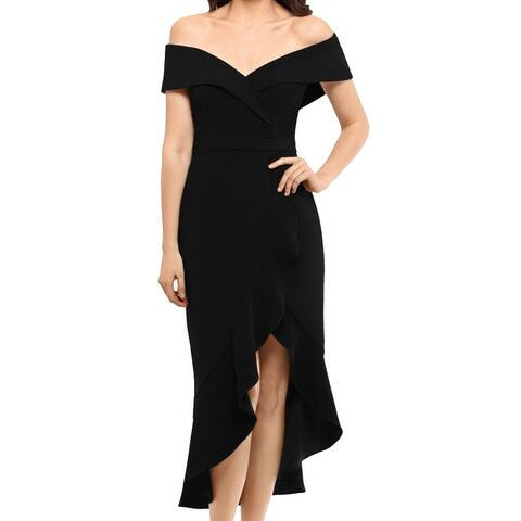 Xscape Women's Dress Black Size 6 Sheath Off Shoulder Ruffle Midi