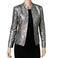 Kasper Beige Women's 14 Metallic Jacquard Flyaway Blazer Jacket