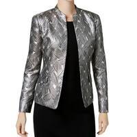 Kasper Champagne Beige Womens Size 8 Jacquard Open-Front Jacket