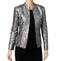 Kasper Silver Womens Size 10 Open-Front Shimmer Jacquard Jacket