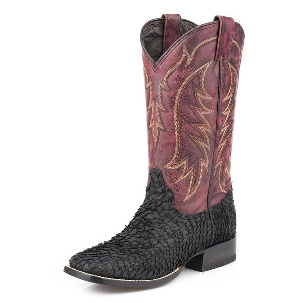 Stetson Western Boots Mens Fish Scales Black