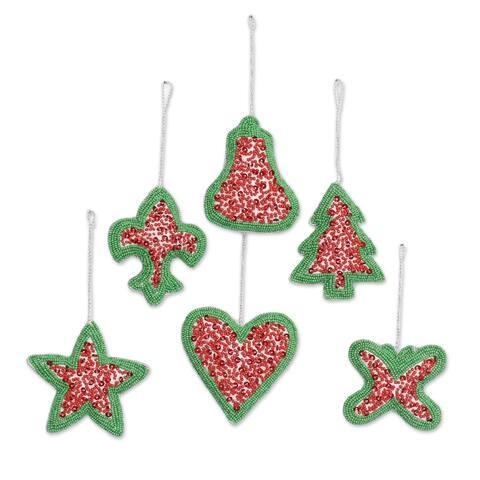 Novica Handmade Christmas Party Beaded Ornaments (Set Of 6)