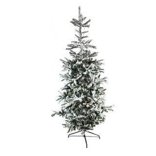 7.5' Pre-Lit Noble Fir Flocked Artificial Christmas Tree - Warm Clear LED Lights - Green
