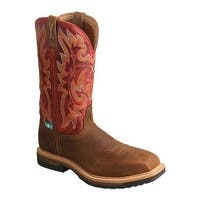 Twisted X Boots Women's WLCCW01 Lite Cowgirl WP Composite Toe Work Boot Distressed Saddle/Red Leather