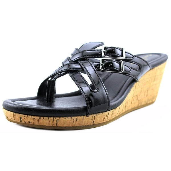 Cole Haan Corby Thong.II Women Open Toe Patent Leather Wedge Sandal