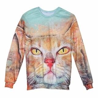 Women's Kitty Eyes Sweatshirt - Front Back Cat Print - Long Sleeve