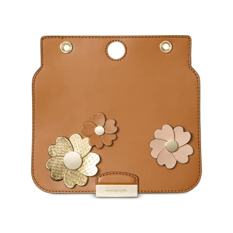 Michael Kors Womens Sloan Select Leather Flap Set Studded Floral - Acorn - Small