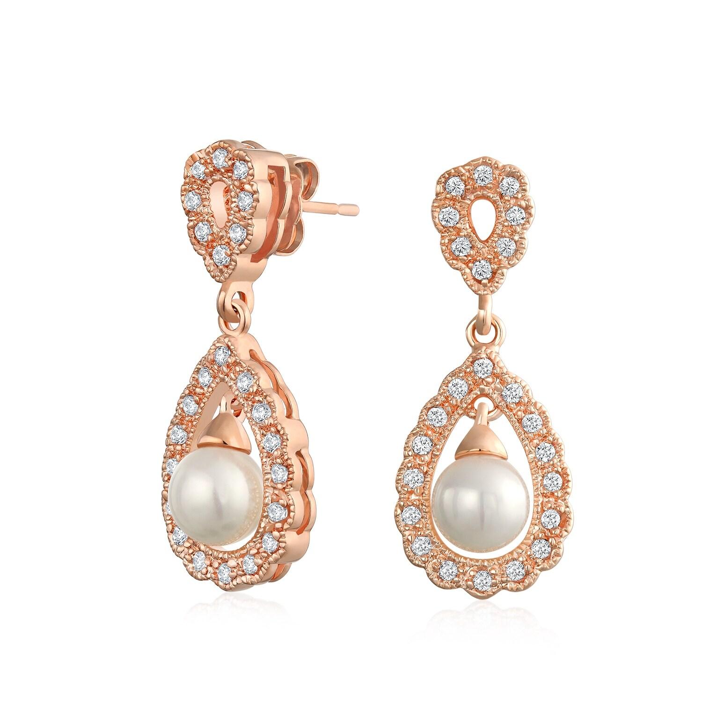 ROSE GOLD Plated Clear Crystal Rhinestone Wedding Drop Dangle Earrings 2083 Prom
