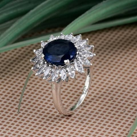 Sapphire, Cubic Zirconia Sterling Silver Oval, Marquise Cluster Ring by Orchid Jewelry