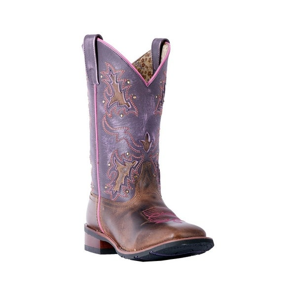 Laredo Western Boots Womens Lola Broad Square Stockman Tan Purple