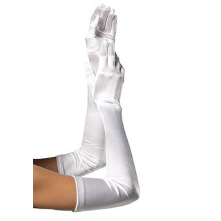 Extra Long White Satin Gloves