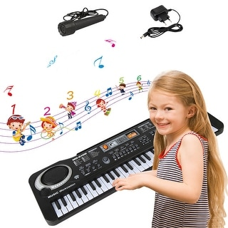 61 Key Kids Electronic Digital Keyboard Piano Musical Instrument Kit with Microphone