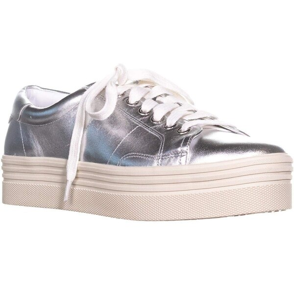 c6fb069d891 Marc Fisher Womens Emmy6 Velvet Low Top Lace Up Fashion Sneakers - Silver  leather