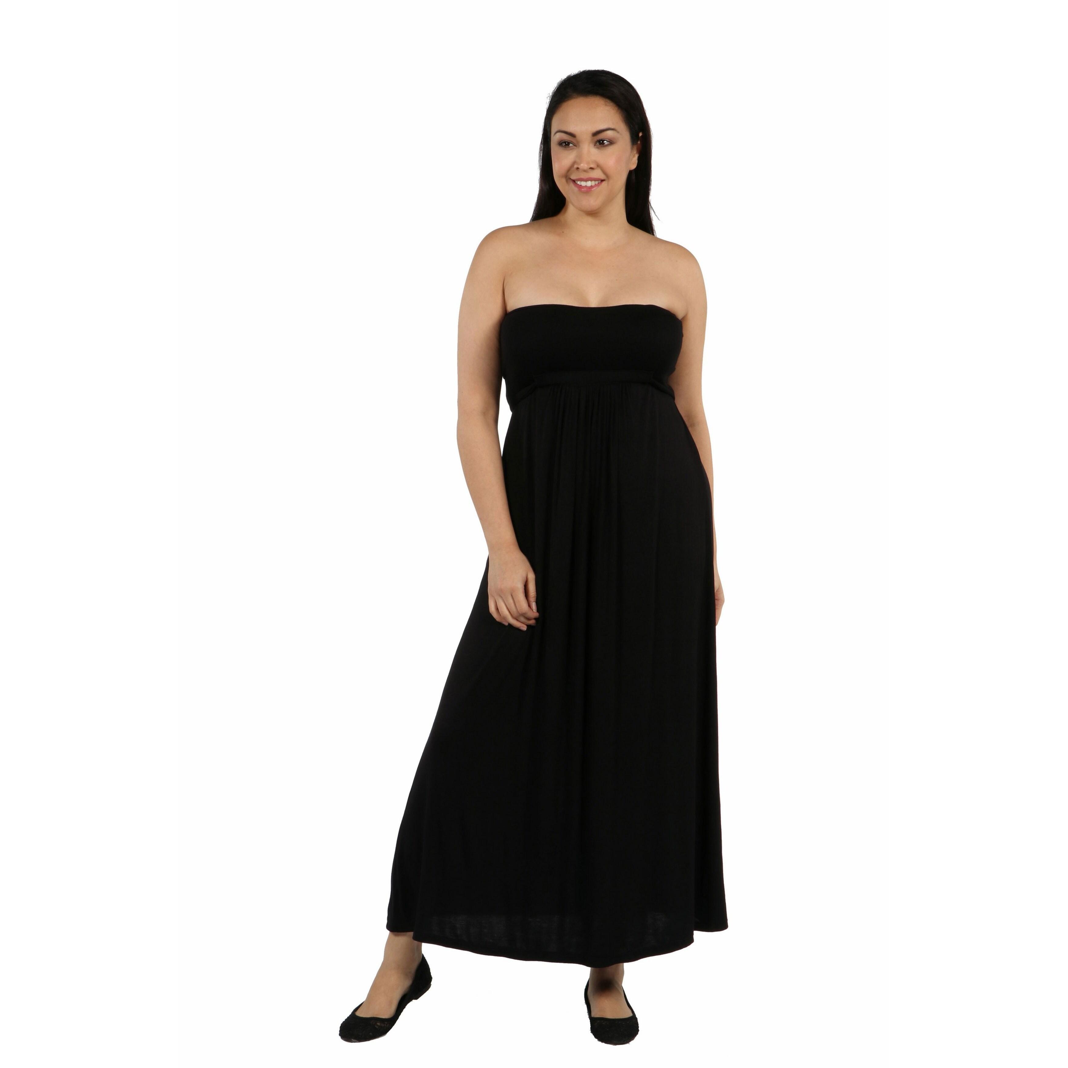 24seven Comfort Apparel Belted Empire Waist Strapless Plus Size Maxi Dress