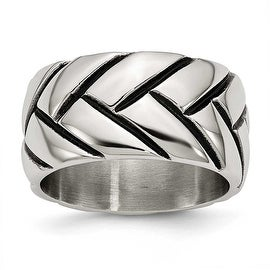 Chisel Stainless Steel Polished Braided Design Ring (12 mm)