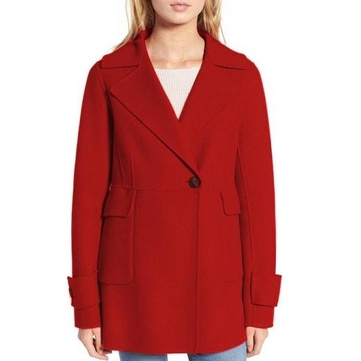 Diane Von Furstenberg Marla Red Wool Peacoat