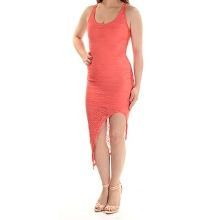 MATERIAL GIRL Womens Coral Sleeveless Scoop Neck Midi Body Con Dress Juniors Size: 2XS