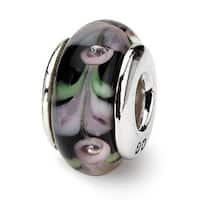 Sterling Silver Reflections Pink/Black Hand-blown Glass Bead (4mm Diameter Hole)