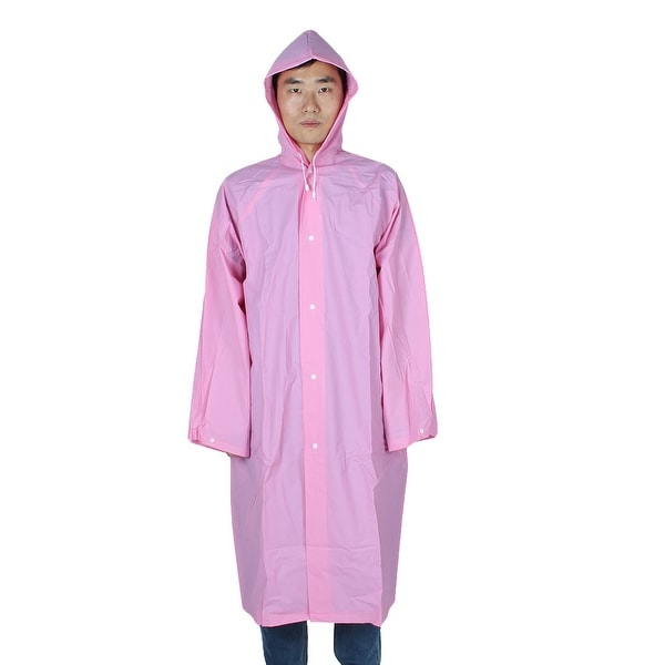 Mefine Authorized EVA Water Resistent Button Closure Raincoat Rain Poncho Pink L