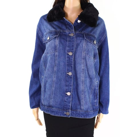 Style & Co. Womens Jacket Blue Size 20W Plus Denim Faux Fur Collar