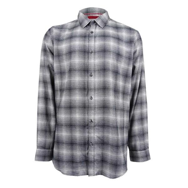 Alfani Mens Slim-Fit Plaid Button Up Shirt