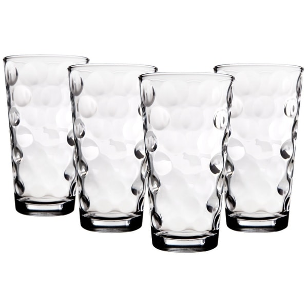 Palais Glassware Cercle Collection; High Quality Clear Glass Set with Circle Design (Set of 4 - 17 Oz Highballs, Clear). Opens flyout.