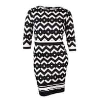 INC International Concepts Women's Popover Jersey Dress - Argent Chevron