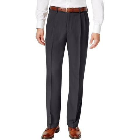 Haggar Mens Eclo Dress Pants Slacks, Grey, 32W x 29L