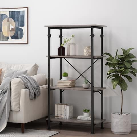 "Bauman Modern Industrial 4 Shelf Bookcase by Christopher Knight Home - 32.00"" L x 18.00"" W x 60.00"" H"