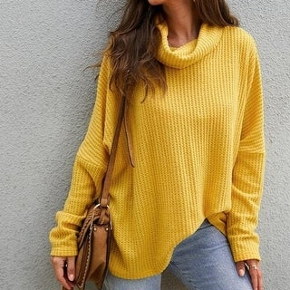 Women's Casual Turtleneck Cable Knit Oversized Pullover  Sweater Tops