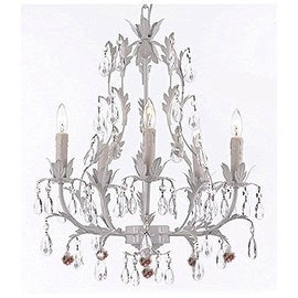 White Wrought Iron Chandelier Lighting With Flowers!