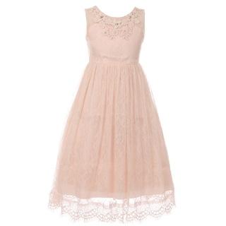 Girls Blush Floral Decorated Lace Junior Bridesmaid Dress