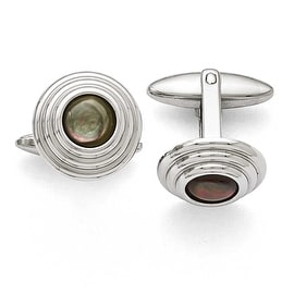 Chisel Stainless Steel Polished Black Mother of Pearl Cuff Links
