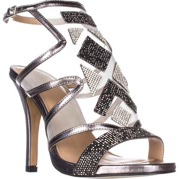 TS35 Regalo Rhinestone Mesh Dress Sandals, Pewter