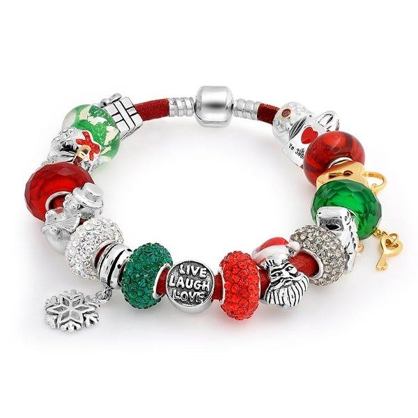 bb621c4d0 Shop Christmas Holiday Live Love Laugh Theme European Bead Charm Red  Leather Bracelet For Women Sterling Silver Barrel Clasp - On Sale - Free  Shipping Today ...
