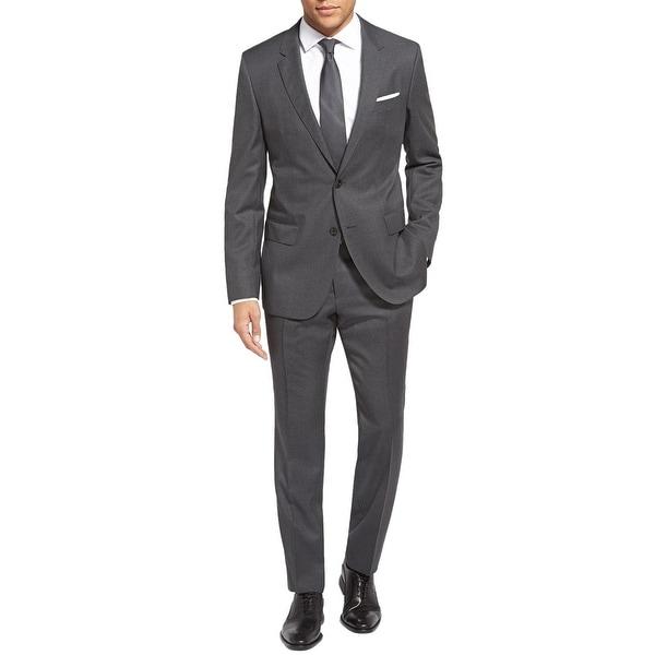 f2e0b4a14 Hugo Boss Mens Huge/Genius Trim Fit Check Wool Grey Suit 46R Pants 40 Waist