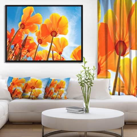 Designart 'Yellow Spring Flowers on Blue' Floral Framed Canvas Art Print
