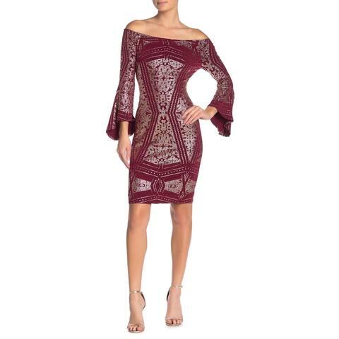 JUMP Burgundy Bell Sleeve Above The Knee Dress M