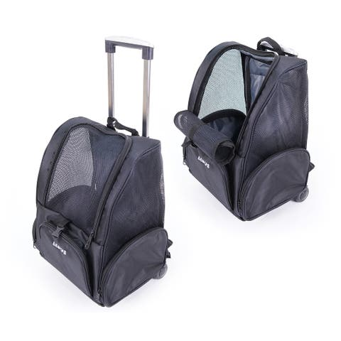 Pets Airline Approved Ventilated Dog and Cat Backpack Carrier - Telescopic Handle Rolling Pet Carrier with Wheels - Regular