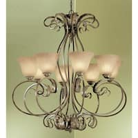 """Classic Lighting 68308 38"""" Wrought Iron Chandelier from the Manilla Collection - english bronze/white glass"""