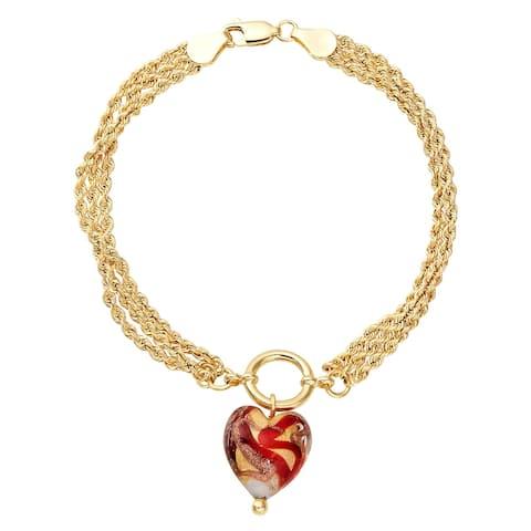 "Murano Glass Heart Triple Chain Bracelet in 10K Gold, 7.5"" - Red"