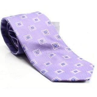 Forsyth Purple Geometric Squares Textured Woven Men's Silk Necktie